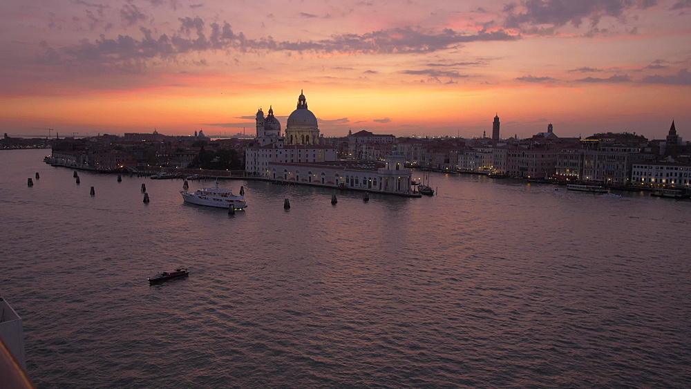 Basilica di Santa Maria della Salute from cruise ship at dusk, Venice, UNESCO World Heritage Site, Veneto, Italy, Europe
