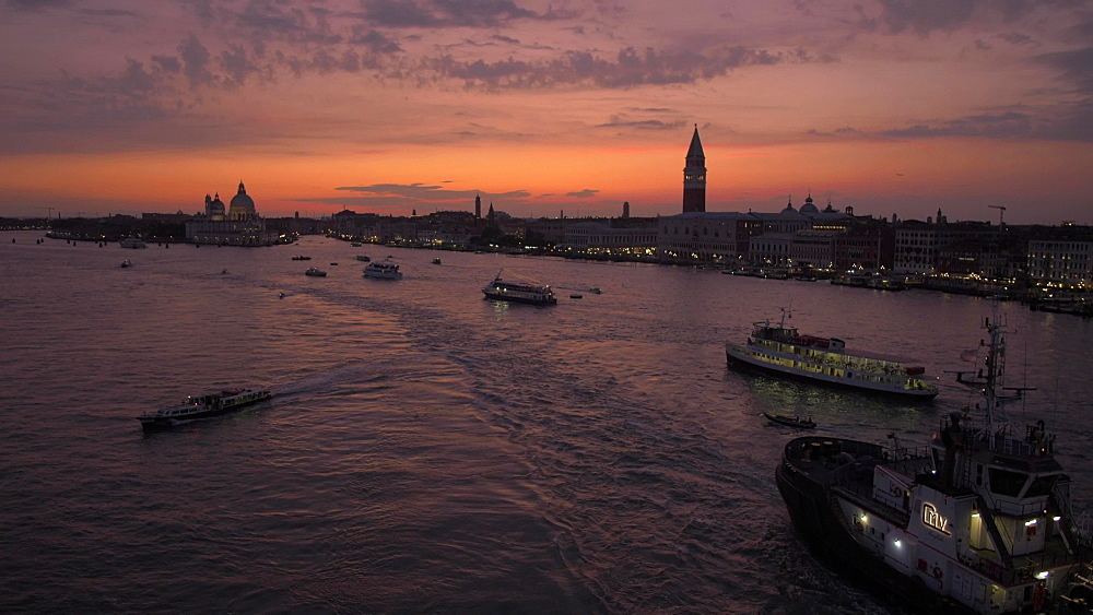 Venice panorama from cruise ship at dusk, Venice, UNESCO World Heritage Site, Veneto, Italy, Europe