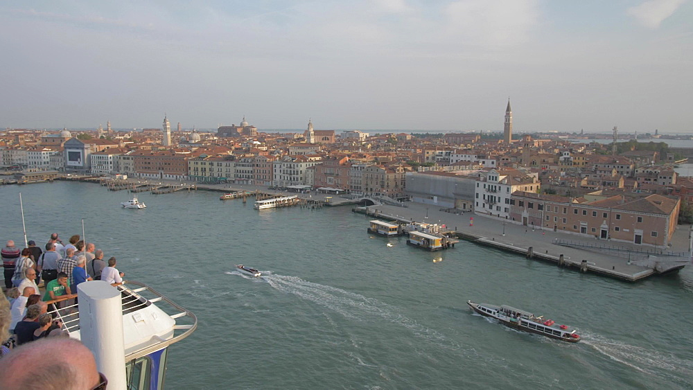 View of Venice Lagoon from cruise ship sailing towards Venice, UNESCO World Heritage Site, Veneto, Italy, Europe