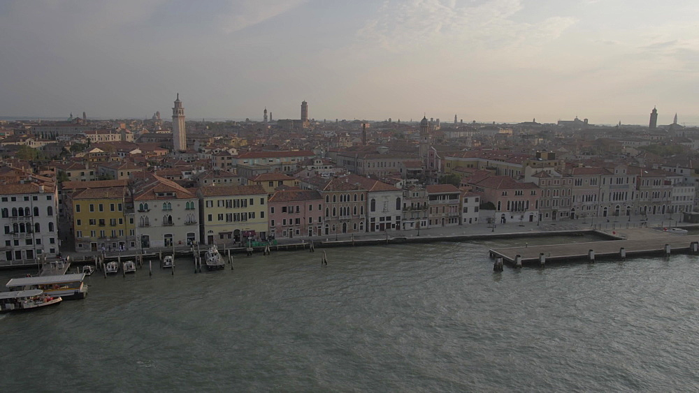 Boats and Venice near cruise ship terminal from cruise ship, Venice, UNESCO World Heritage Site, Veneto, Italy, Europe