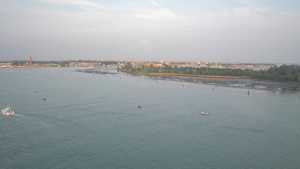 Venice Lagoon from cruise ship sailing towards Venice, UNESCO World Heritage Site, Veneto, Italy, Europe