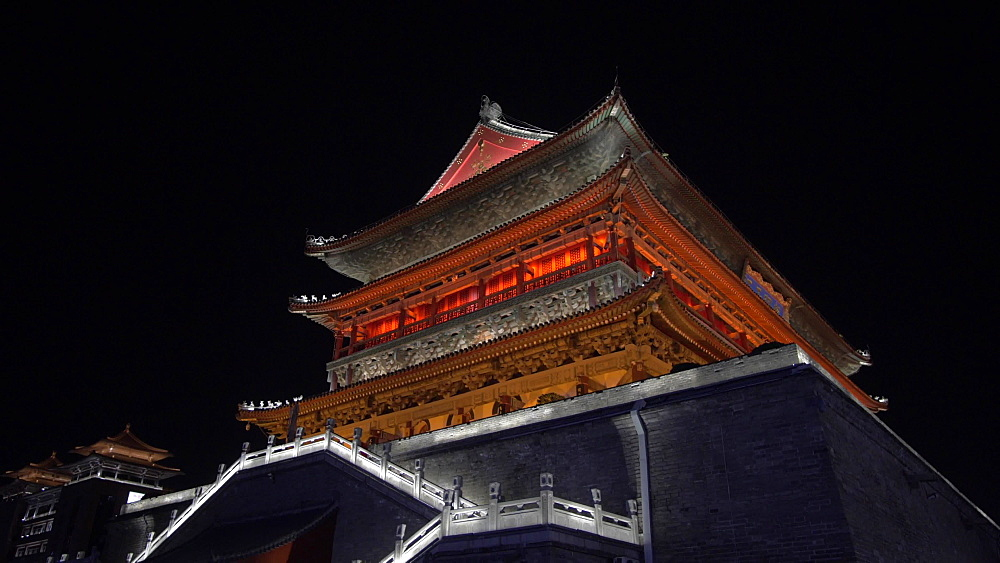 Ornate City Wall near Huan Cheng Gong Park at night, Xi'an, Shaanxi, People's Republic of China, Asia