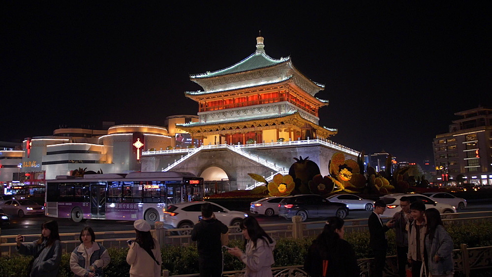 Traffic and ornate Bell Tower at night, Xi'an, Shaanxi, People's Republic of China, Asia
