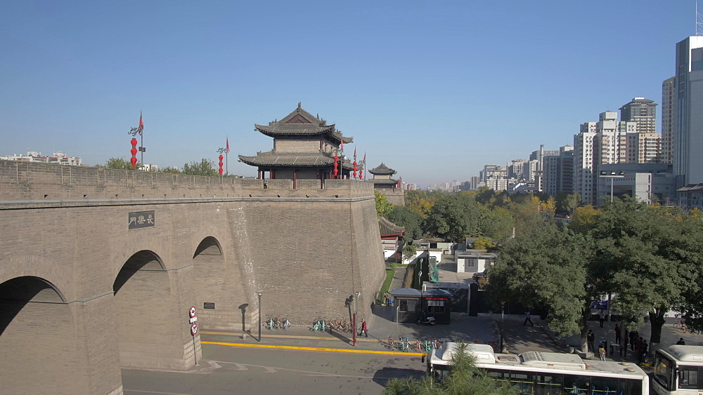 Dolly shot of traditional Chinese Architecture of the City Wall, Xi'an, Shaanxi, People?s Republic of China, Asia
