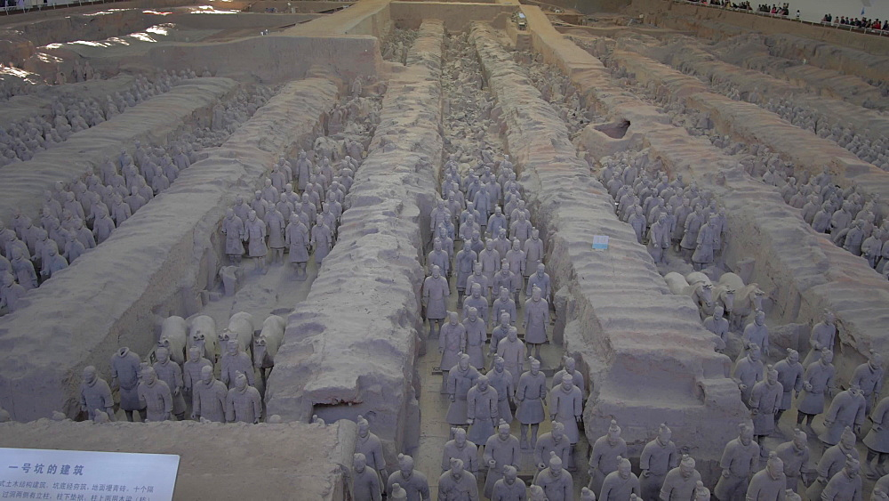 Tilt shot of Terracotta Warriors in the Tomb Museum, Xi'an, Shaanxi Province, People's Republic of China, Asia