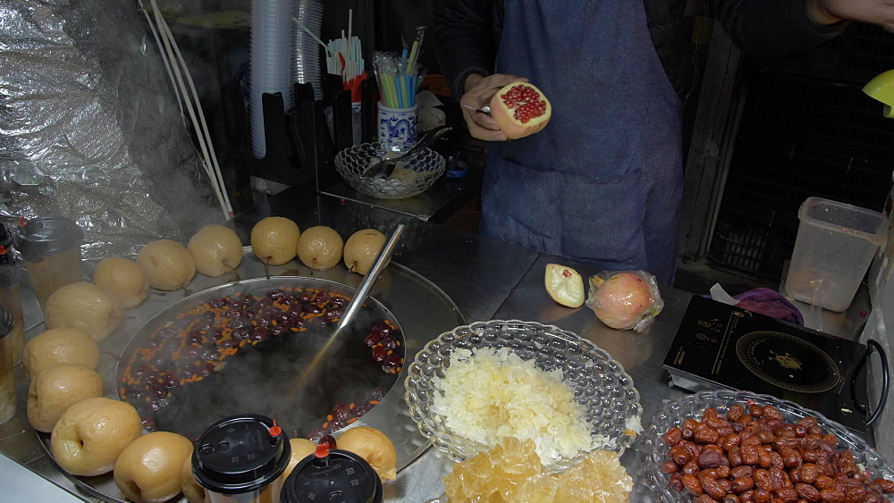 Food on a stall in the night market in Xian, Xi'an, Shaanxi Province, People's Republic of China, Asia