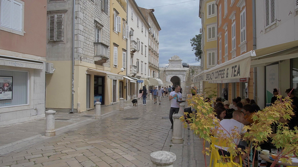 Land Gate and cafes, Zadar, Zadar County, Dalmatia region, Croatia, Europe