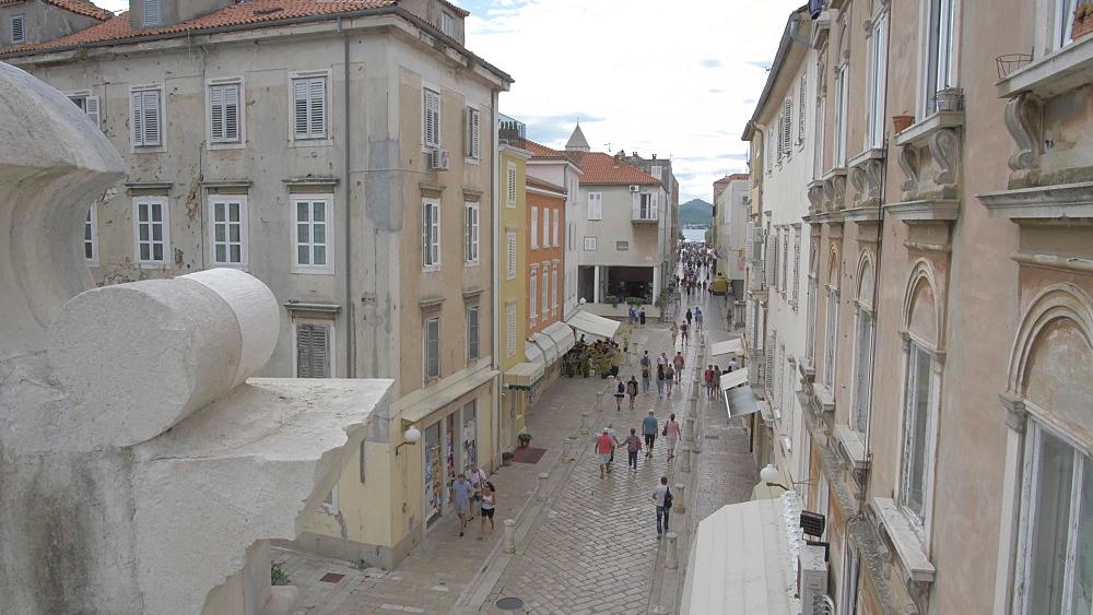 Shopping street from above Sea Gate, Zadar, Zadar County, Dalmatia region, Croatia, Europe