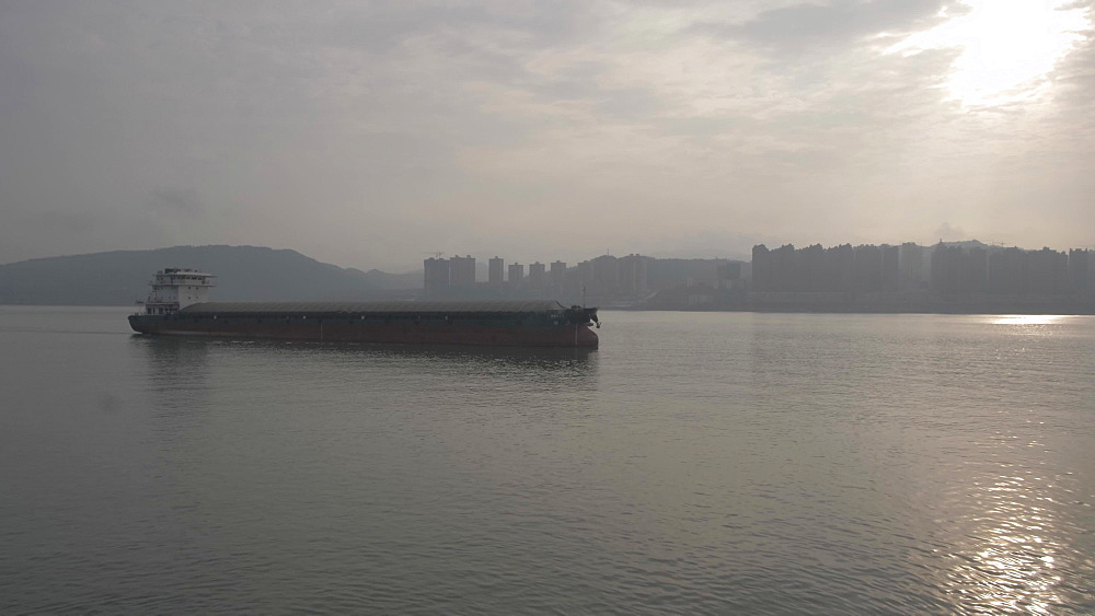 View of heavy barge on Yangtze River near Chongqing, People?s Republic of China, Asia