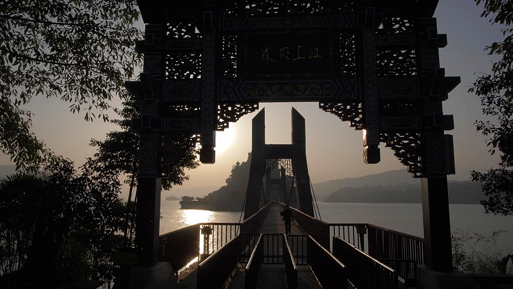 Crane shot of entrance to Shi Baozhai Pagoda at sunset on Yangtze River near Wanzhou, Chongqing, People's Republic of China, Asia