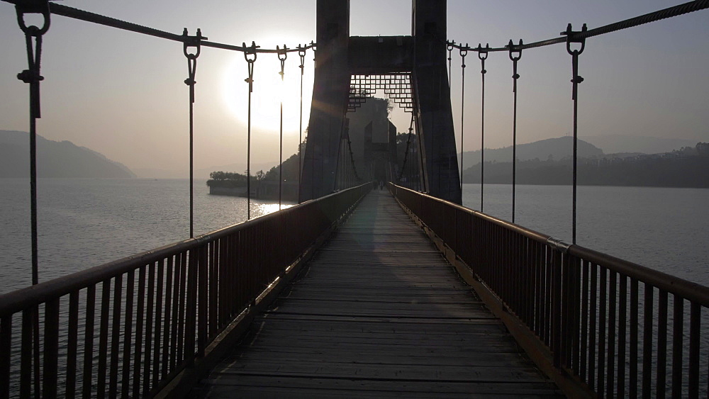 Bridge to Shi Baozhai Pagoda at sunset on Yangtze River near Wanzhou, Chongqing, People's Republic of China, Asia