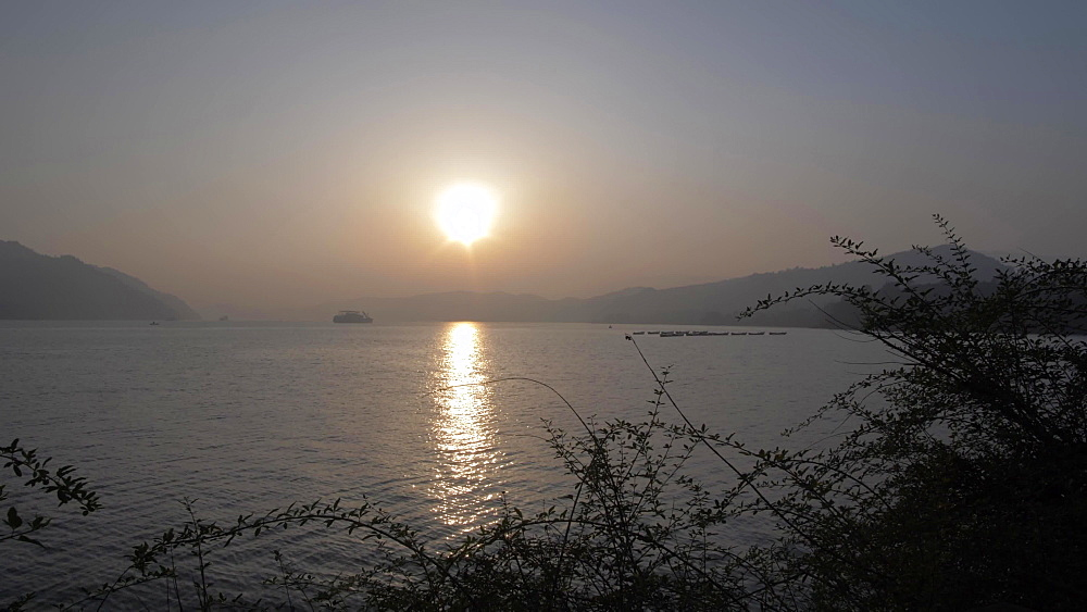Sunset on Yangtze River from Shi Baozhai Pagoda near Wanzhou, Chongqing, People's Republic of China, Asia