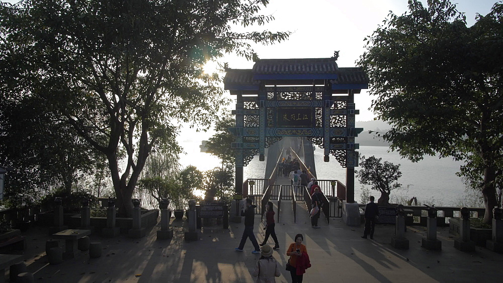 Entrance to Shi Baozhai Pagoda at sunset on Yangtze River near Wanzhou, Chongqing, People's Republic of China, Asia