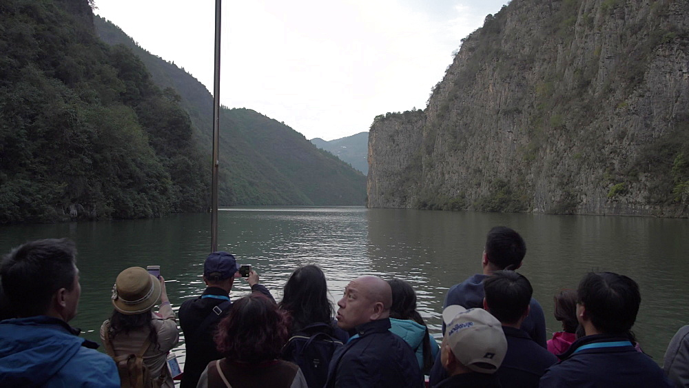 Qutang Gorge from onboard a cruise boat, Three Gorges, Yangtze River, People's Republic of China, Asia