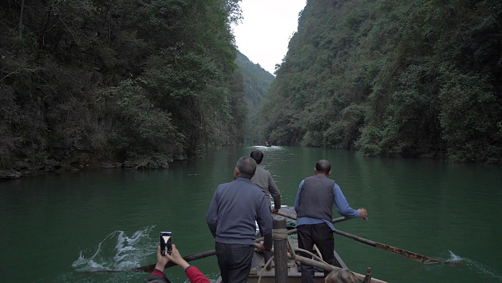 Tracking shot of Qutang Gorge onboard a raft boat, Three Gorges, Yangtze River, People's Republic of China, Asia