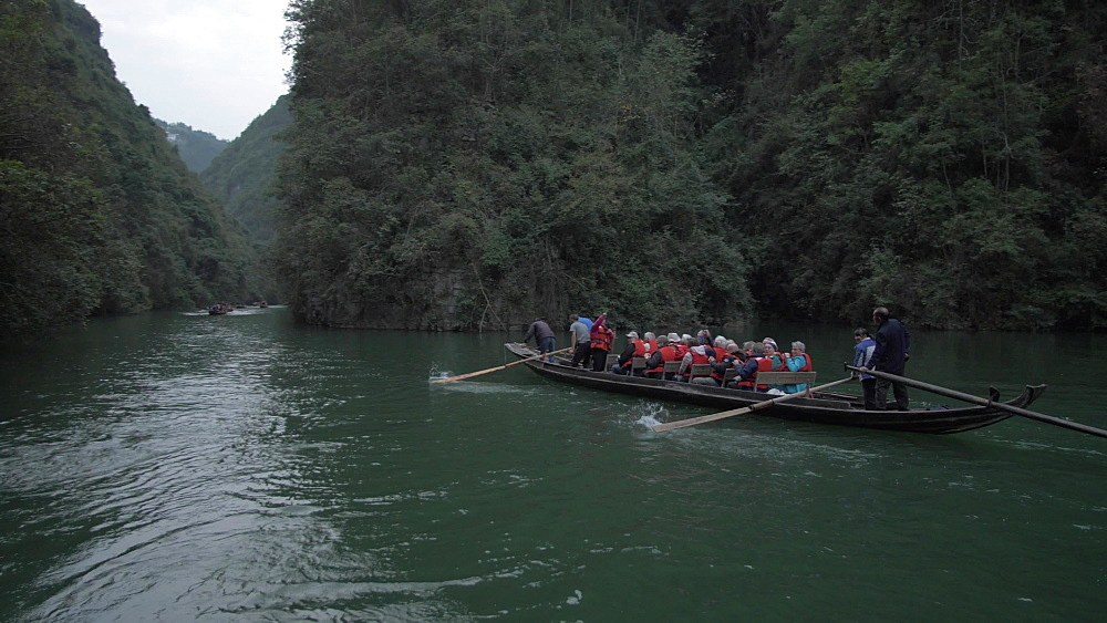Qutang Gorge, onboard a raft boat, Three Gorges, Yangtze River, People's Republic of China, Asia