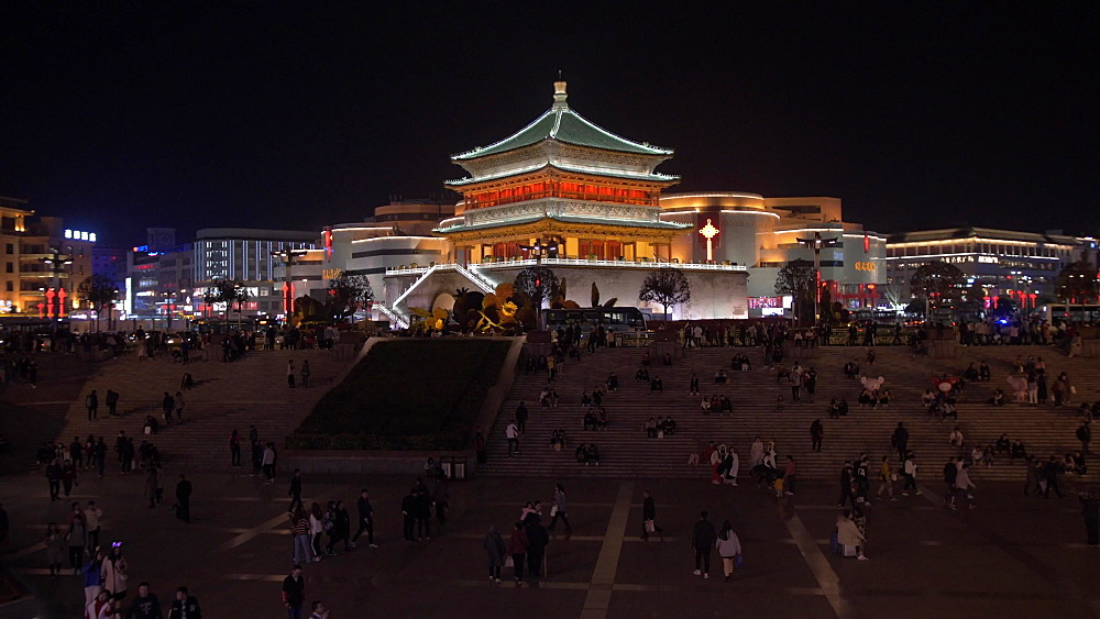 Public area and ornate Bell Tower at night, Lianhu, Xi'an, Shaanxi, People's Republic of China, Asia