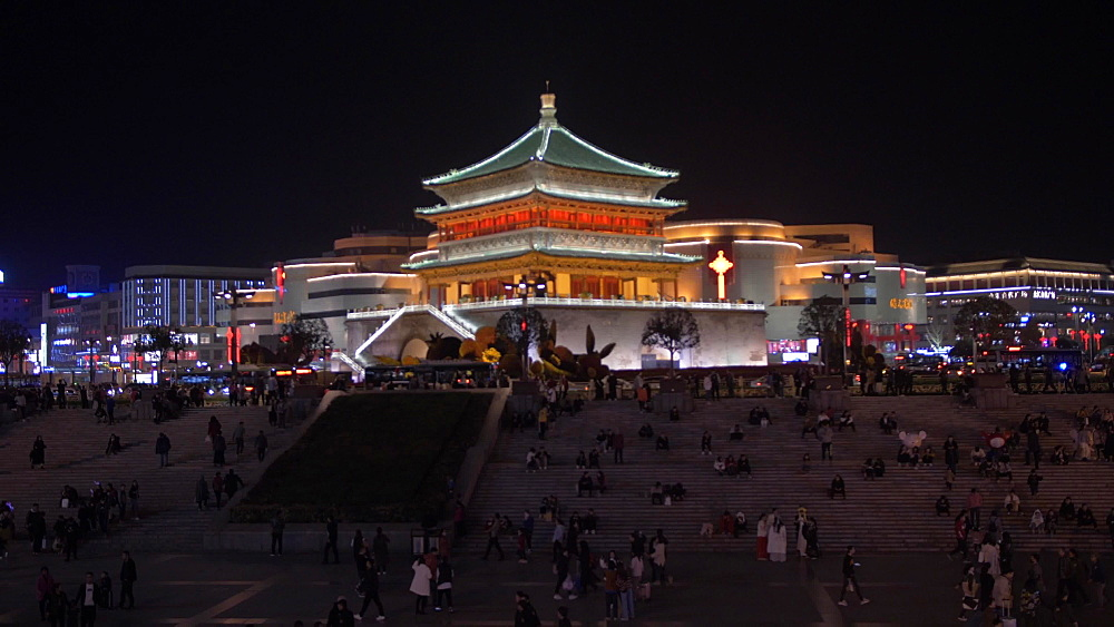 Zoom shot of public area and ornate Bell Tower at night, Lianhu, Xi'an, Shaanxi, People?s Republic of China, Asia