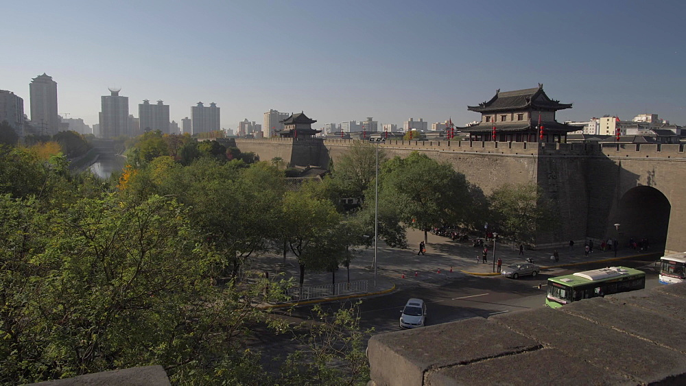 Elevated shot of traditional Chinese architecture of the City Wall, Xi'an, Shaanxi, People's Republic of China, Asia