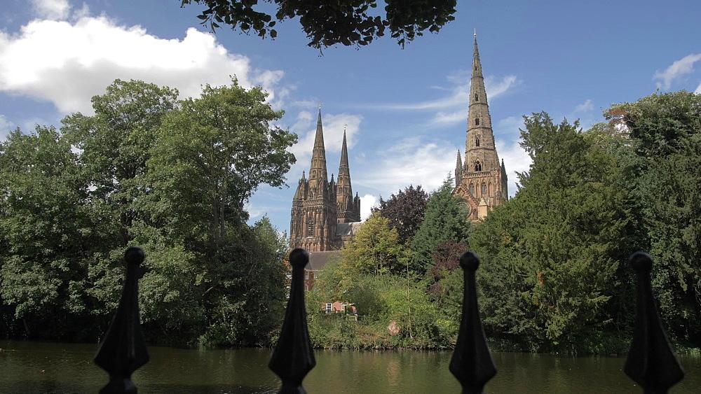 Lichfield Cathedral on sunny day in summer, Lichfield, Staffordshire, England, United Kingdom, Europe