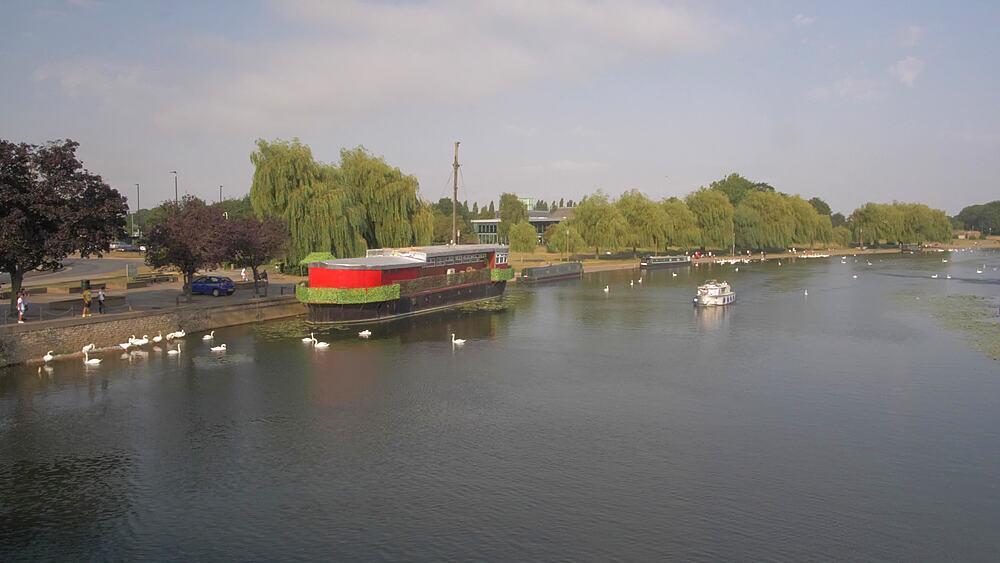 River Nene from Town Bridge, Peterborough, Cambridgeshire, England, United Kingdom, Europe