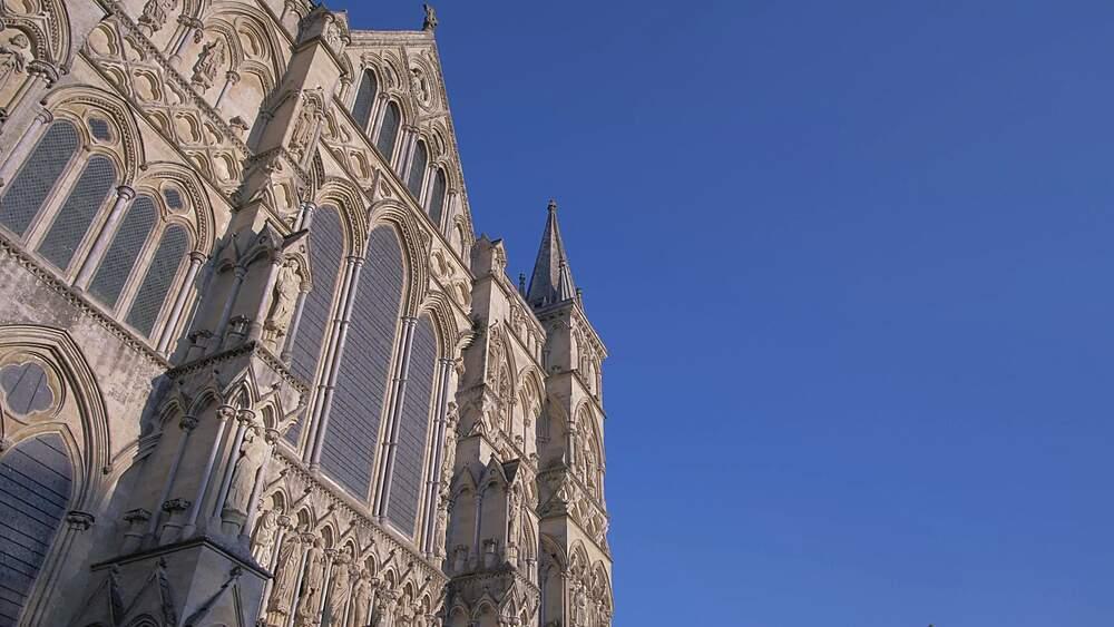 Ornate statues on Salisbury Cathedral, Salisbury, Wiltshire, England, United Kingdom, Europe