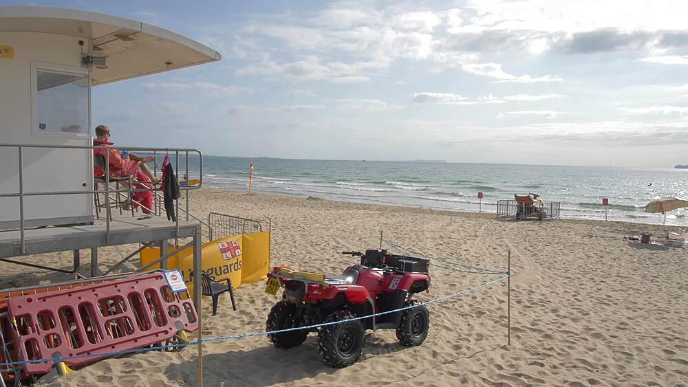 Lifeguard station on Sandbanks Beach, Poole, Dorset, England, United Kingdom, Europe