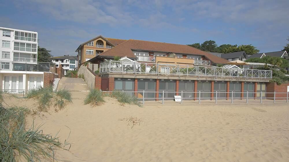 Luxury properties overlooking Sandbanks Beach, Poole, Dorset, England, United Kingdom, Europe