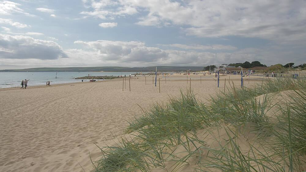 Sand dunes and Sandbanks Beach, Poole, Dorset, England, United Kingdom, Europe