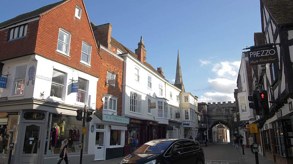 The High Street and Cathedral visible in background, Salisbury, Wiltshire, England, United Kingdom, Europe