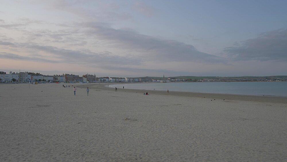 Weymouth Beach at sunset, Weymouth, Dorset, England, United Kingdom, Europe