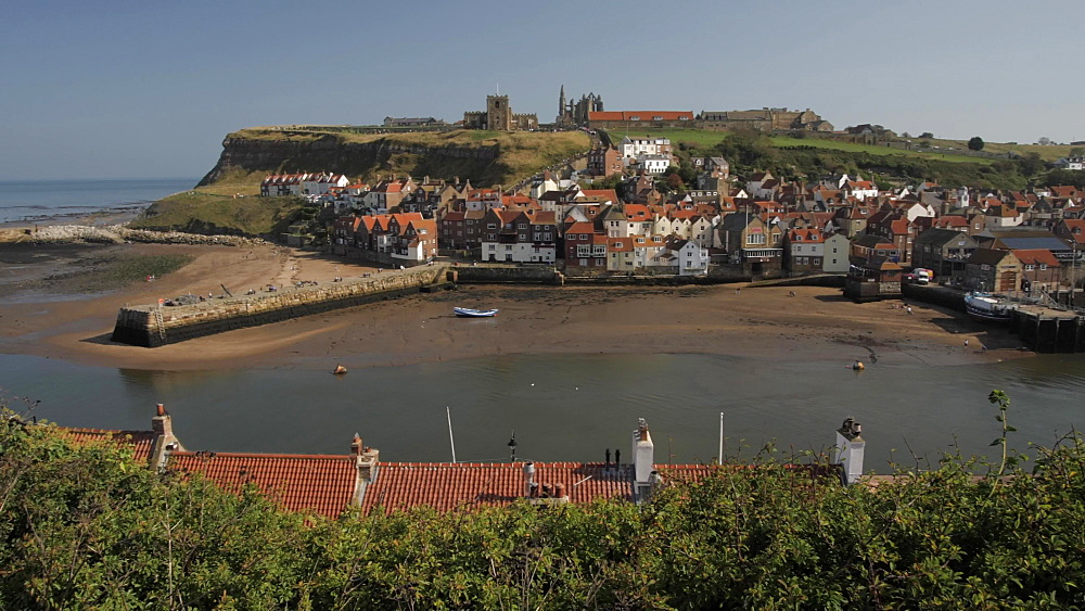 Whitby Abbey, St. Mary's Church and Esk riverside houses, Whitby, North Yorkshire, England, United Kingdom, Europe