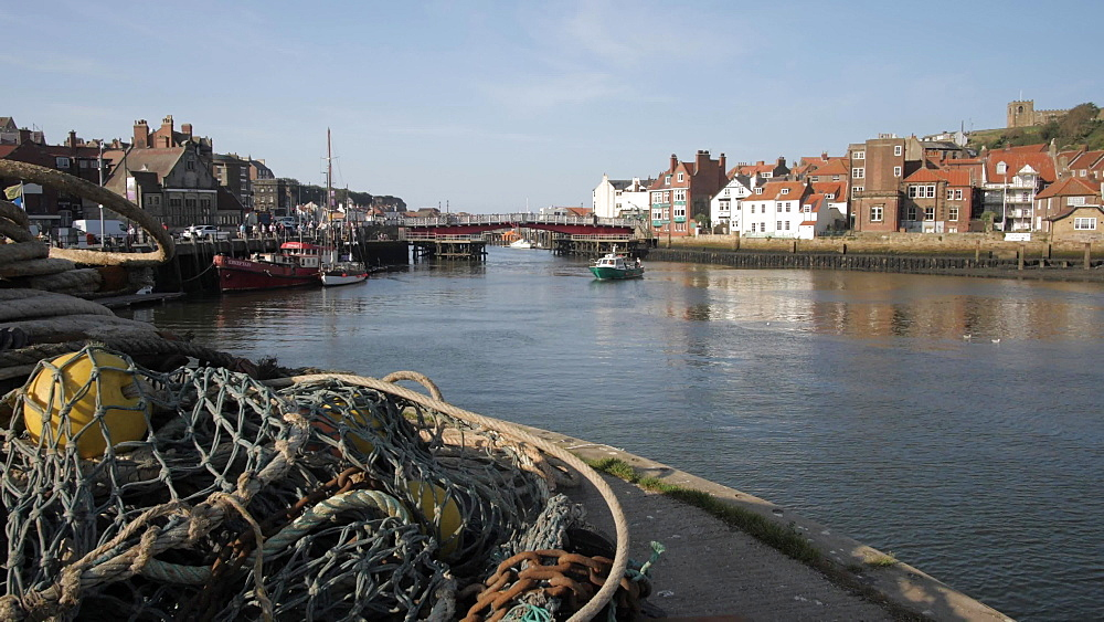 Fishing nets, River Esk and St. Mary's Church, Whitby, North Yorkshire, England, United Kingdom, Europe