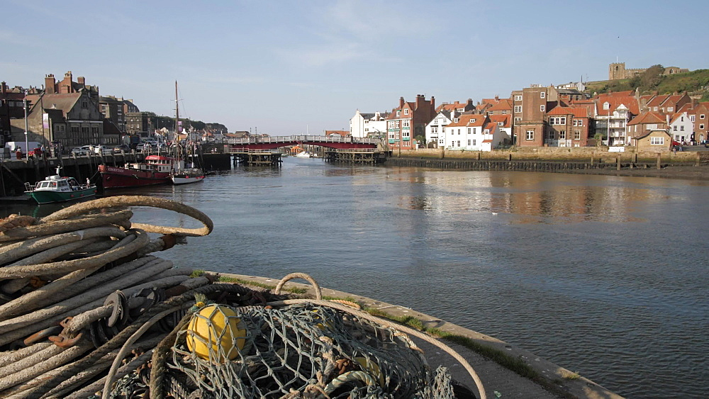 Houses, River Esk and St. Mary's Church, Whitby, North Yorkshire, England, United Kingdom, Europe