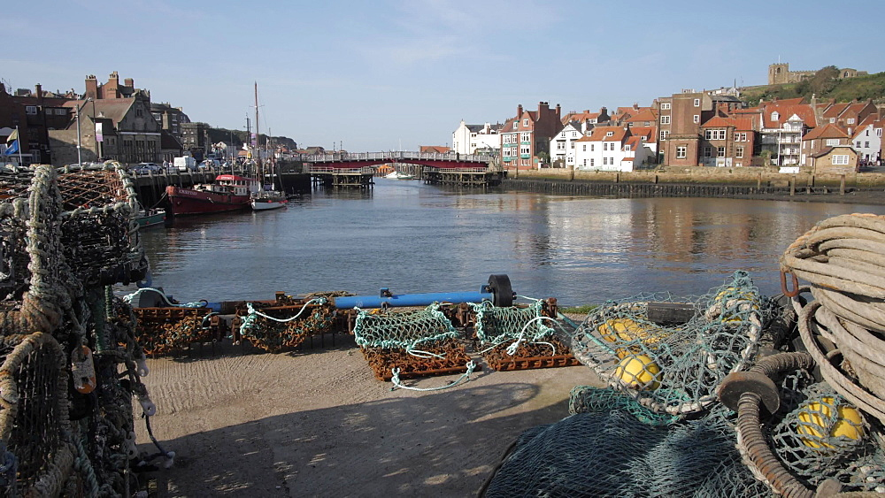 Fishing baskets, River Esk and St. Mary's Church, Whitby, North Yorkshire, England, United Kingdom, Europe