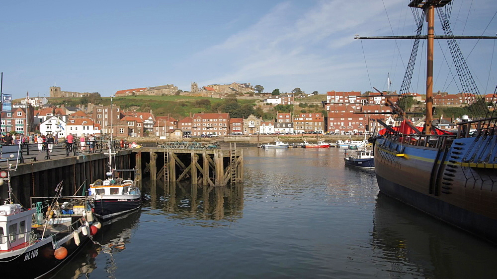 Harbour, houses, River Esk and St. Mary's Church, Whitby, North Yorkshire, England, United Kingdom, Europe