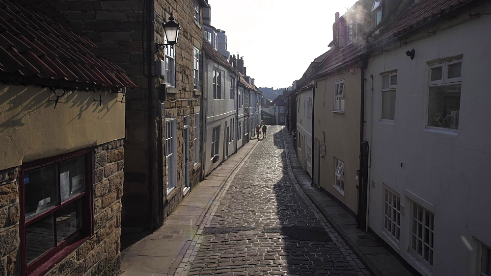 Cobbled street and houses, Whitby, North Yorkshire, England, United Kingdom, Europe