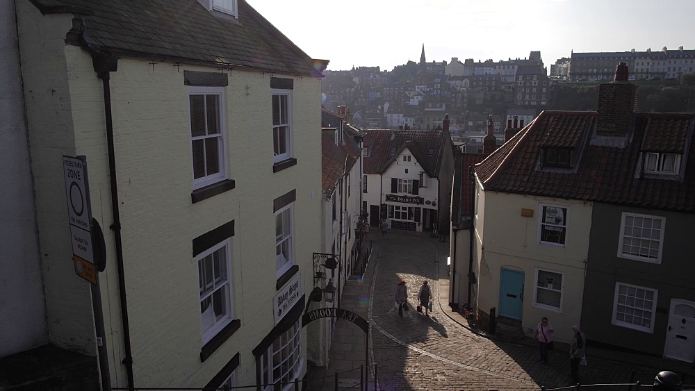Town from 199 steps from St. Mary's Church, Whitby, North Yorkshire, England, United Kingdom, Europe