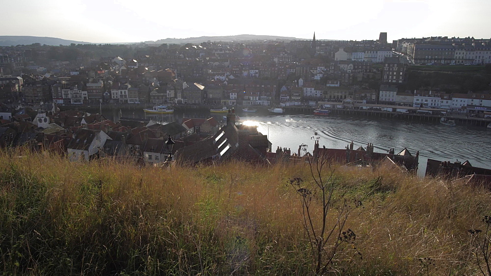 Harbour and town from St. Mary's Church, Whitby, North Yorkshire, England, United Kingdom, Europe