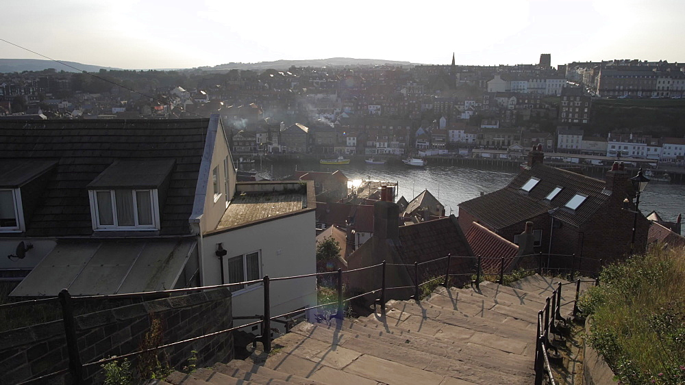 View of town from 199 steps to St. Mary's Church, Whitby, North Yorkshire, England, United Kingdom, Europe