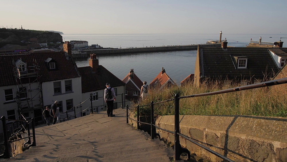 View of town going down 199 steps from St. Mary's Church, Whitby, North Yorkshire, England, United Kingdom, Europe