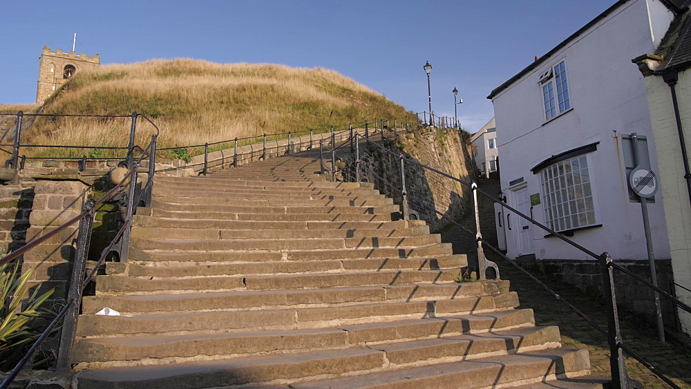 The 199 steps to St. Mary's Church, Whitby, North Yorkshire, England, United Kingdom, Europe