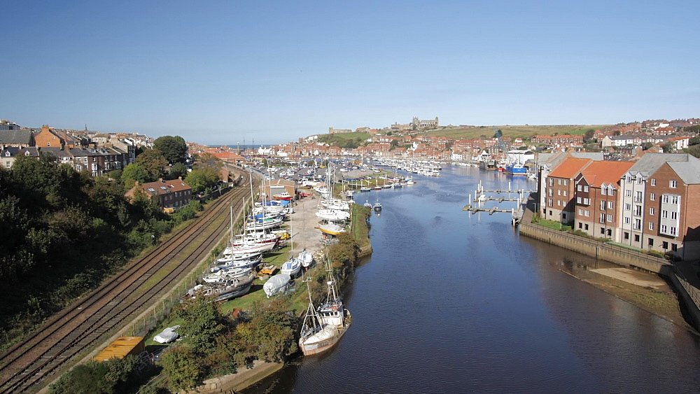 River Esk and panoramic view of Whitby, Whitby, North Yorkshire, England, United Kingdom, Europe