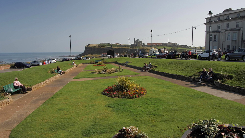 Gardens overlooking sea at West Cliff, Whitby, North Yorkshire, England, United Kingdom, Europe
