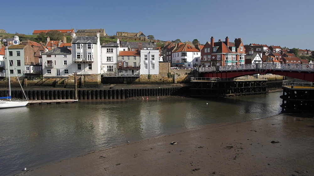 River Esk and riverside houses, Whitby, North Yorkshire, England, United Kingdom, Europe