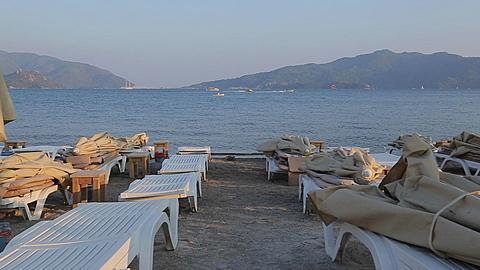 Sun Loungers on Beach, Marmaris, Anatolia, Turkey