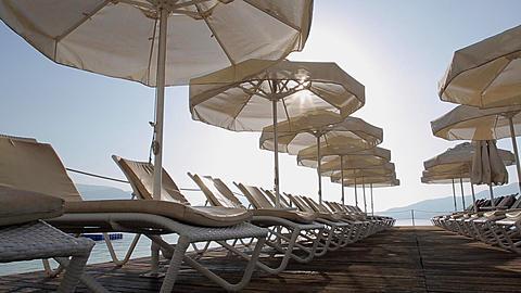 Sun Loungers & Sunshades, Marmaris, Anatolia, Turkey