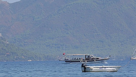 Gullet on Aegean Sea near Iclemer, Marmaris, Anatolia, Turkey
