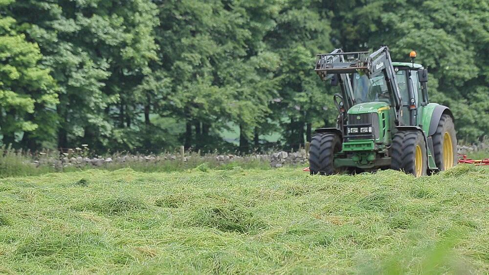 Hay Making near Monyash, Peak District National Park, Derbyshire, England UK, Europe