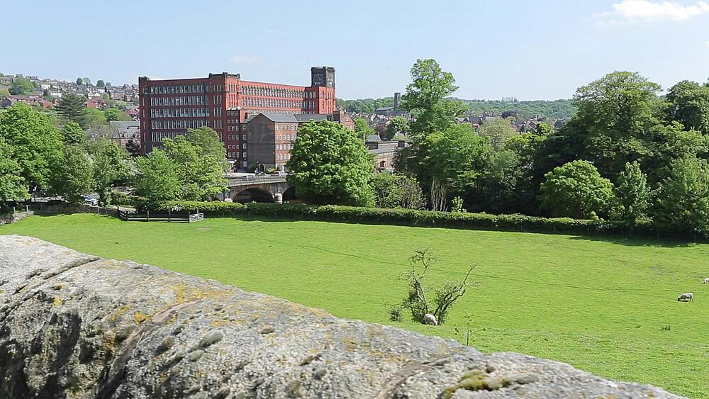 Belper Mill & Dry Stone Walls, Belper, Derbyshire Dales, Derbyshire, England, UK, Europe
